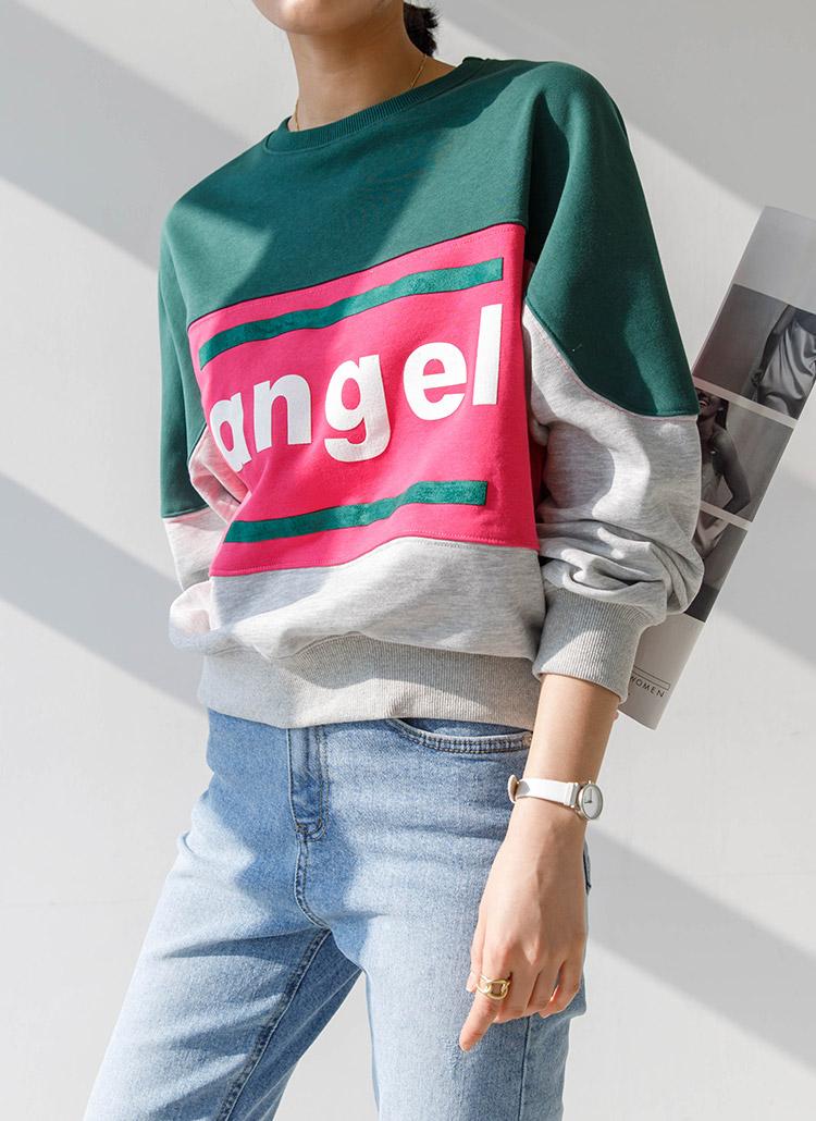 Angelカラーブロックスウェット