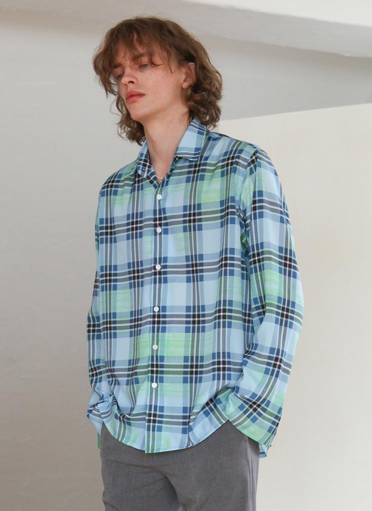 ペインテッドチェックシャツ(ブルー)