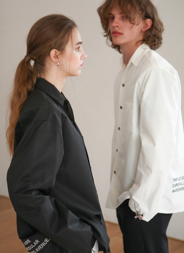 バックレタリングシャツジャケット(ホワイト)