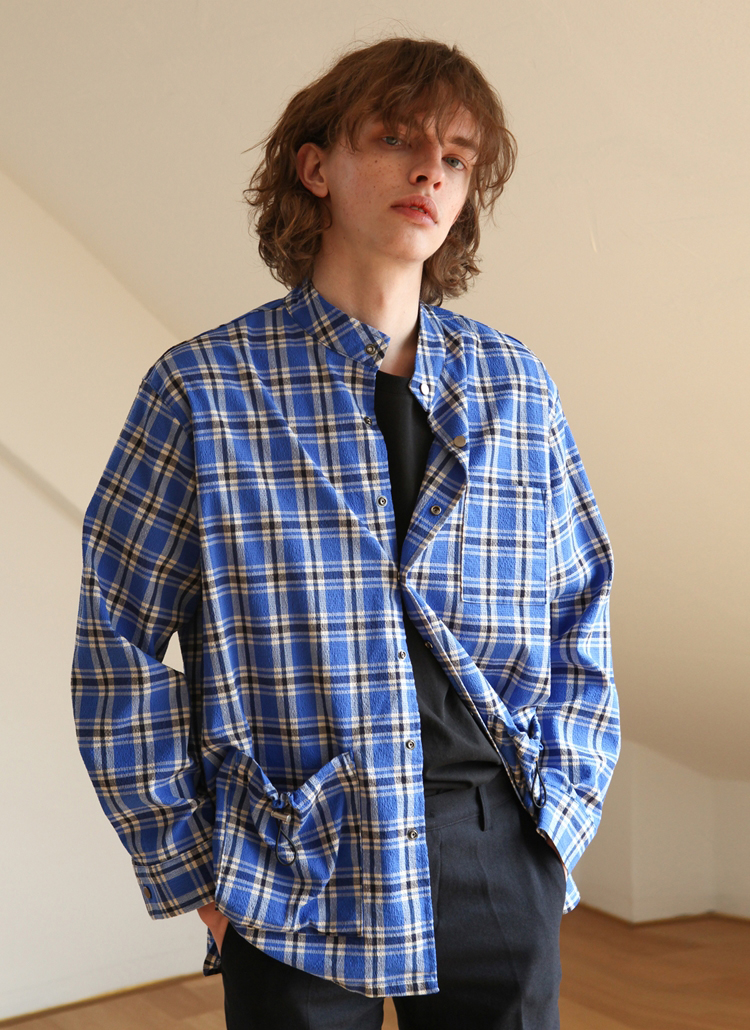 バンドカラーチェックシャツジャケット(ブルー)