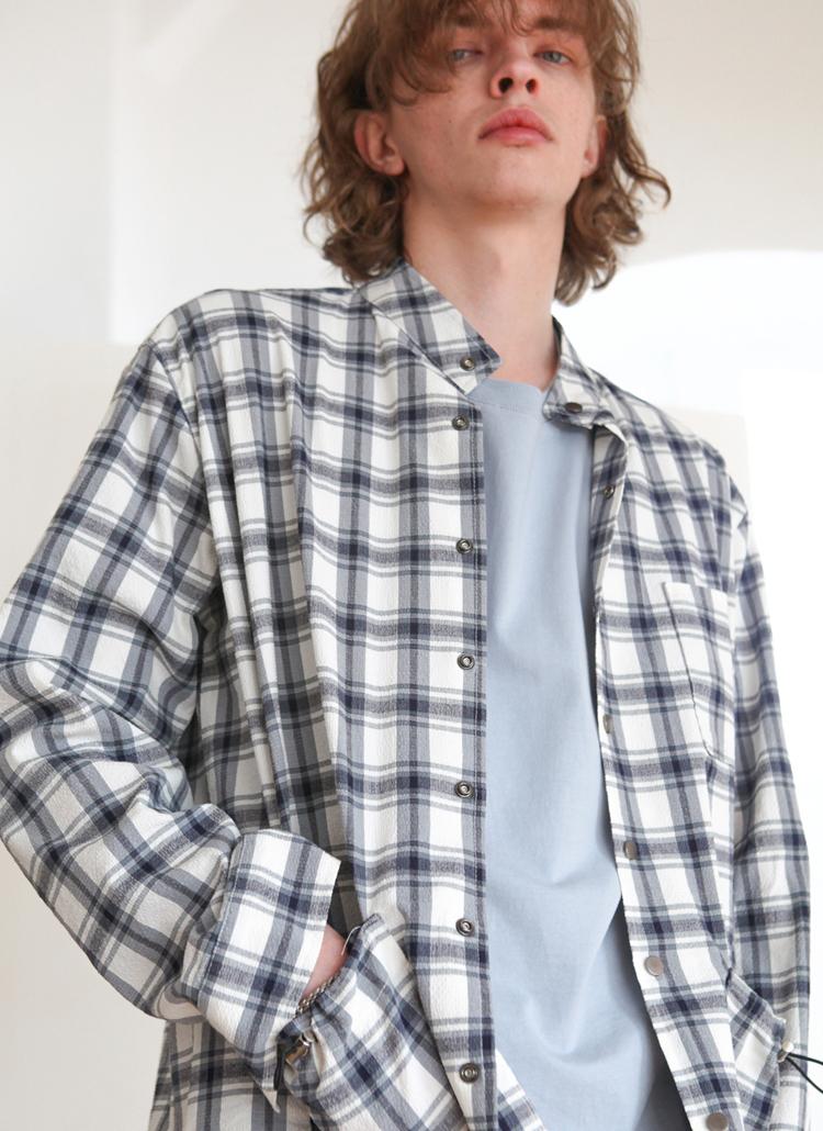 バンドカラーチェックシャツジャケット(グレー)