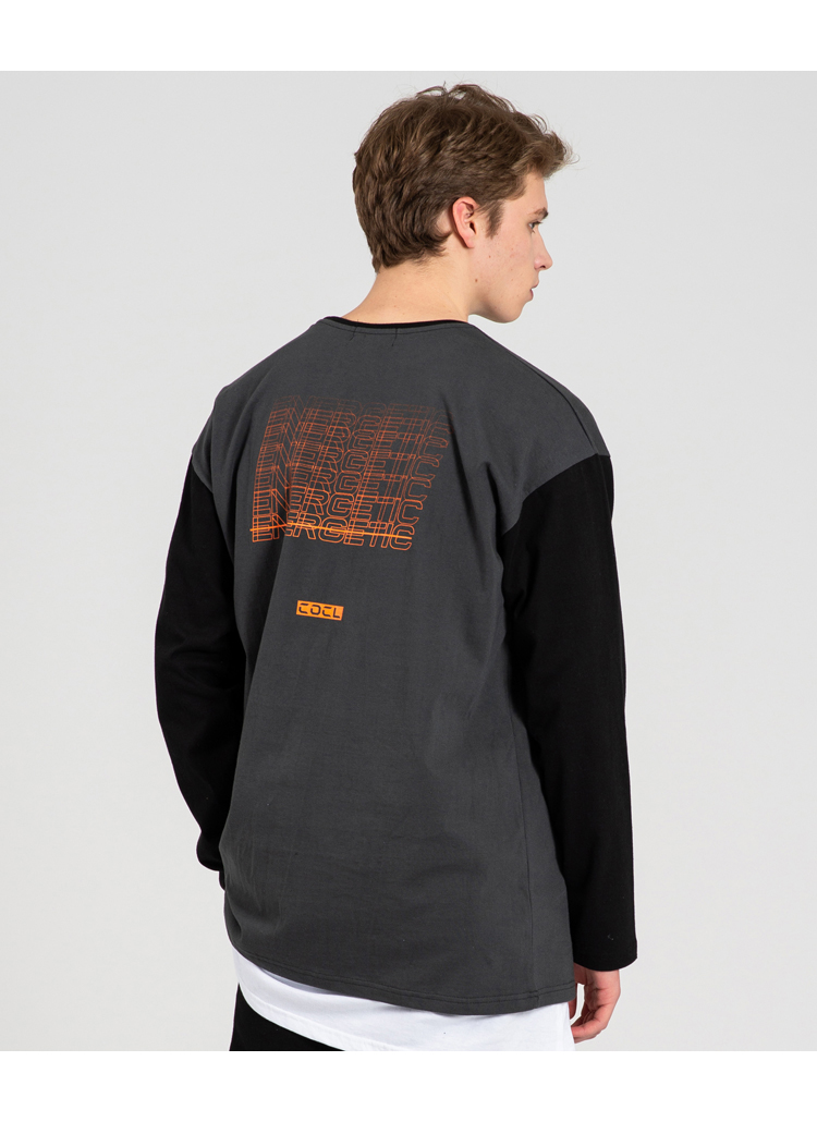 ENERGETIC配色スリーブTシャツ(ダークグレー)
