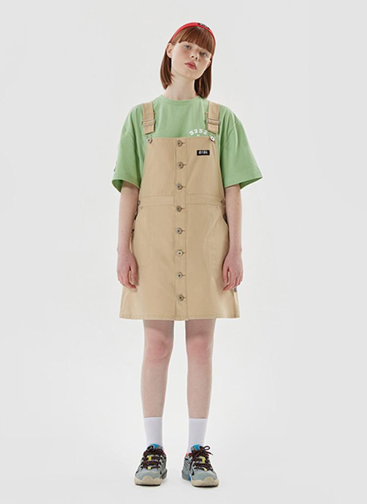 O!Oiロゴボタンサロペットスカート(ベージュ)