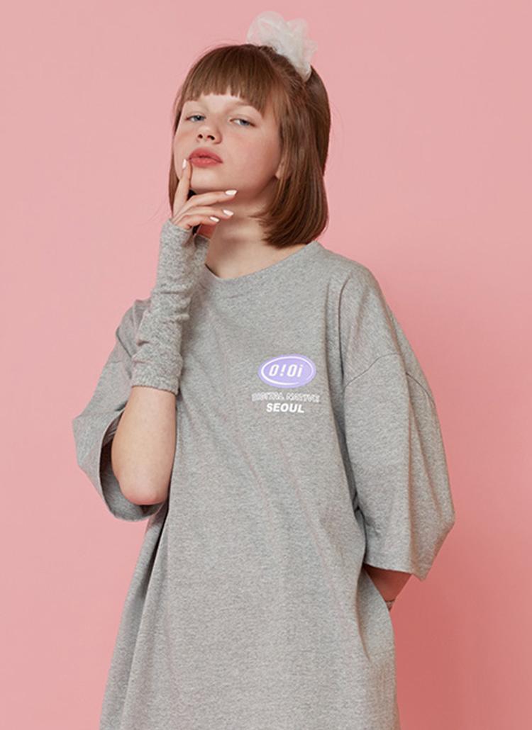 バックロゴボクシーTシャツ(グレー)