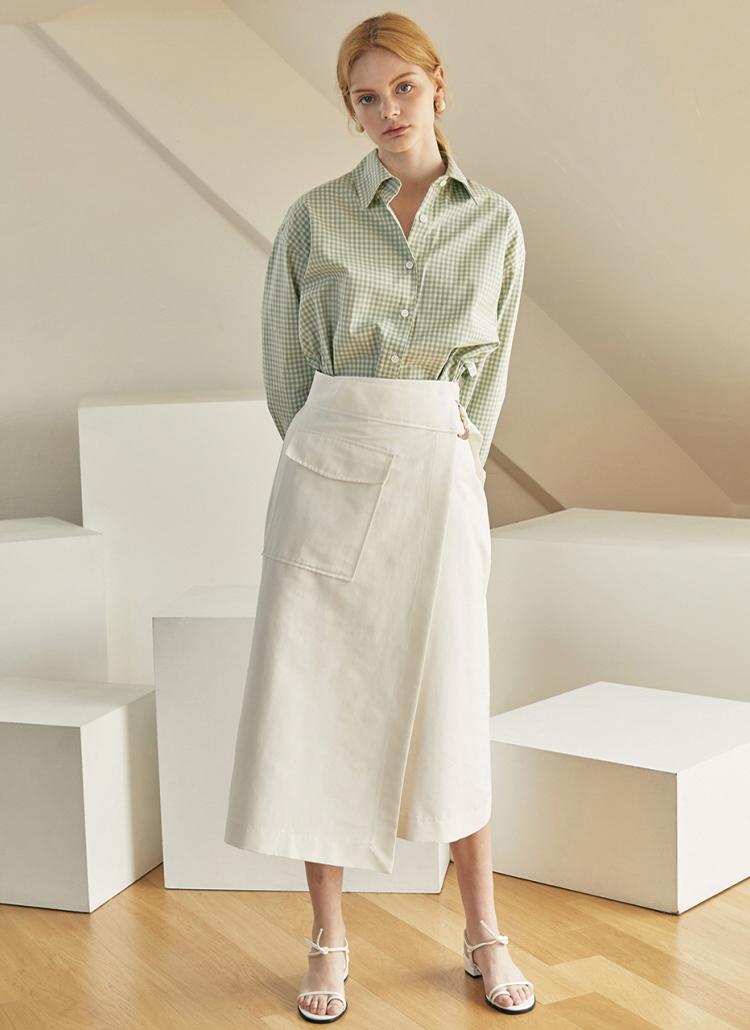 フラップポケットラップスカート(ホワイト)
