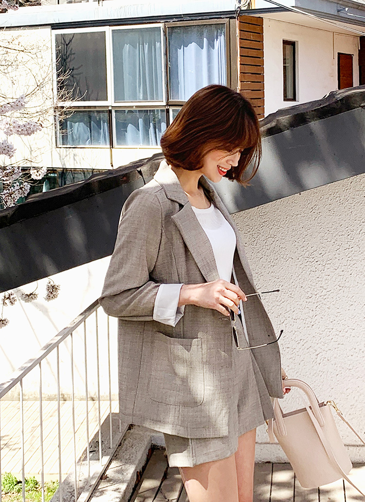 リネン混ジャケット&タックショートパンツSET・全3色