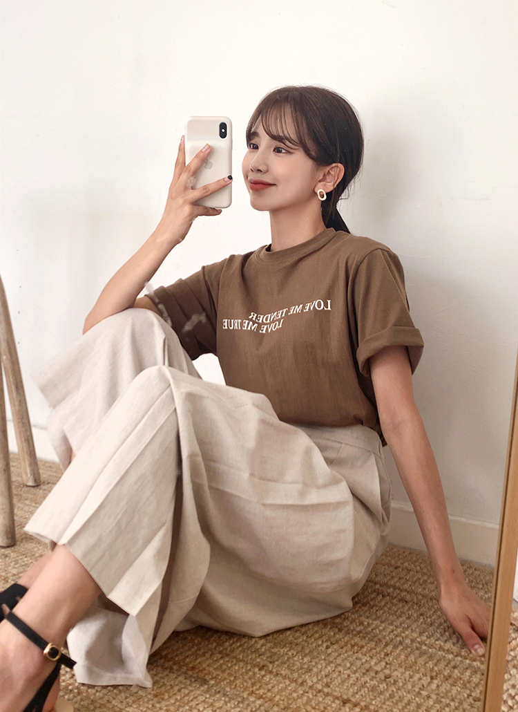 LOVE MEレタリング半袖Tシャツ・全2色