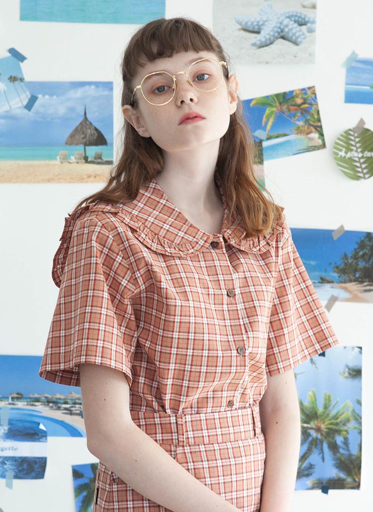 TGTセーラーチェックシャツ(コーラル)