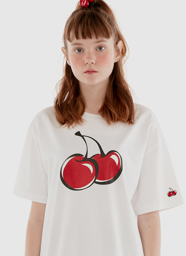 <font color=red><b><予約商品></b></font>ビッグチェリーグリッターTシャツ(ホワイト)