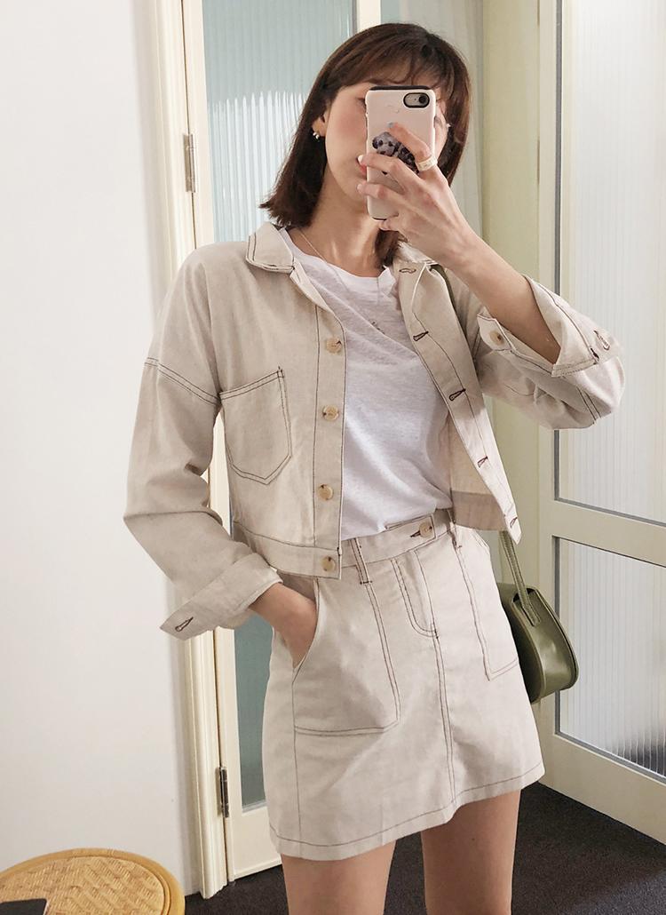 ステッチジャケット&ミニスカートSET・全2色