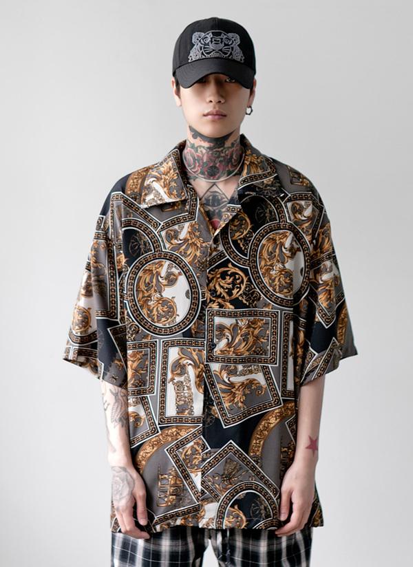 シルケットパターンオーバーシャツ