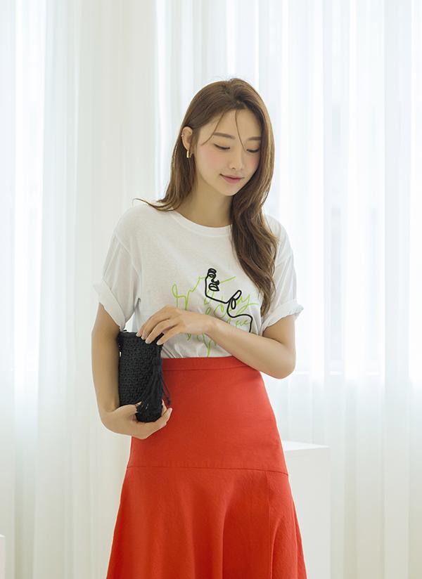 フェイスドローイングレタリングTシャツ