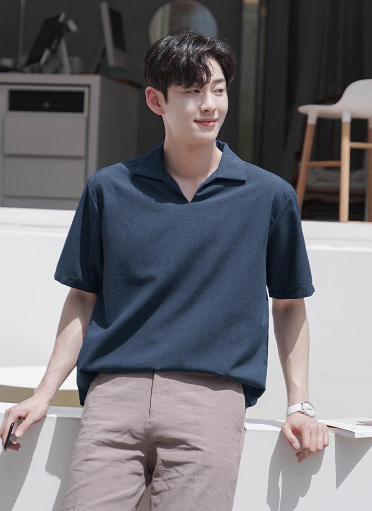 オープンカラー半袖Tシャツ