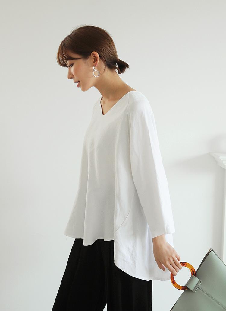 リネン混アンバランスTシャツ・全2色