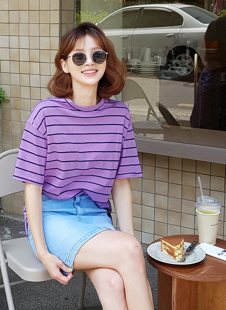 ボーダーハーフスリーブTシャツ・全3色