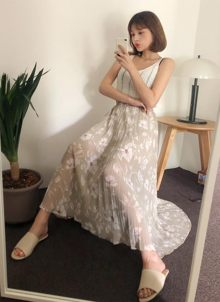 プリーツフローラルプリントスカート・全2色