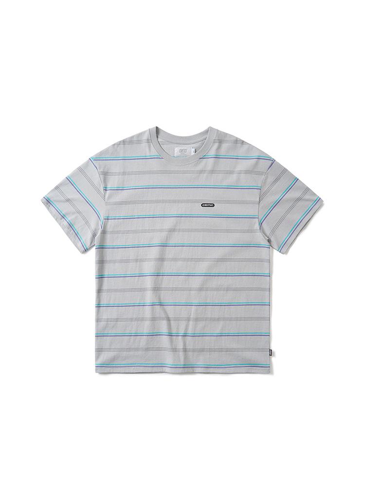 マルチボーダーコットンTシャツ(グレー)