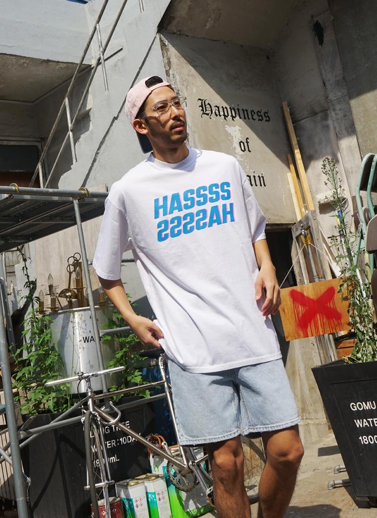 HASSカラーレタリング半袖Tシャツ