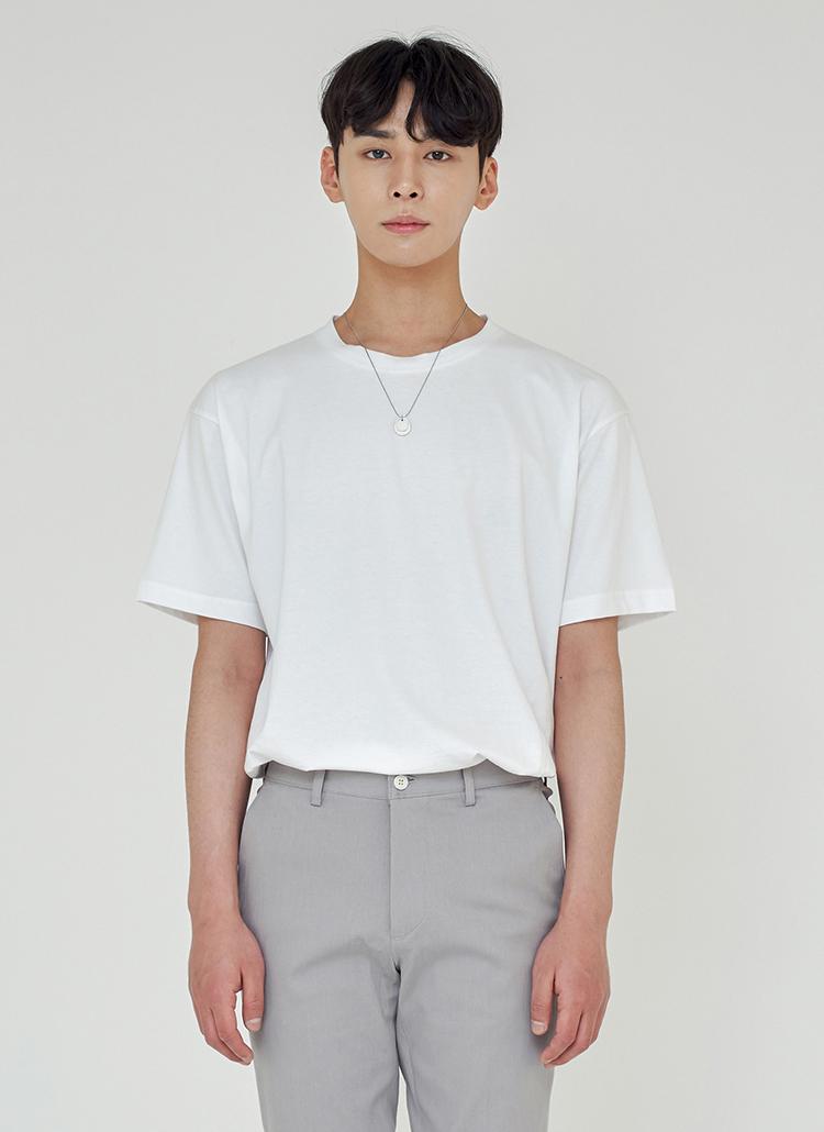 ルーズフィットシルケットTシャツ(ホワイト)