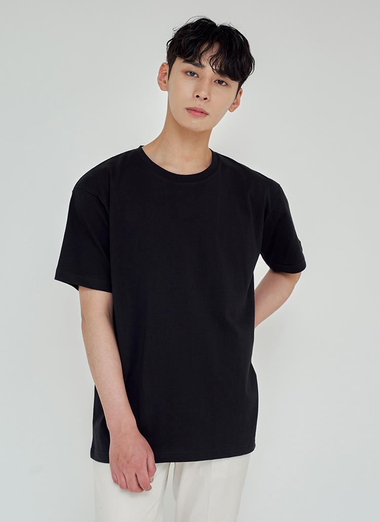 ルーズフィットシルケットTシャツ(ブラック)