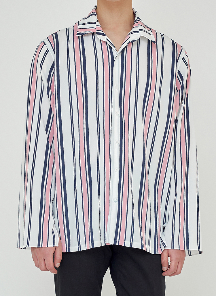 スリットスリーブマルチストライプシャツ(ピンク)