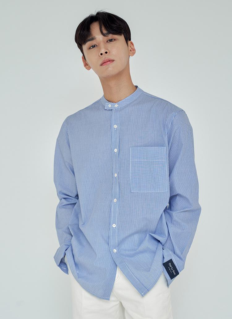 バンドカラーヘアラインストライプシャツ(ブルー)