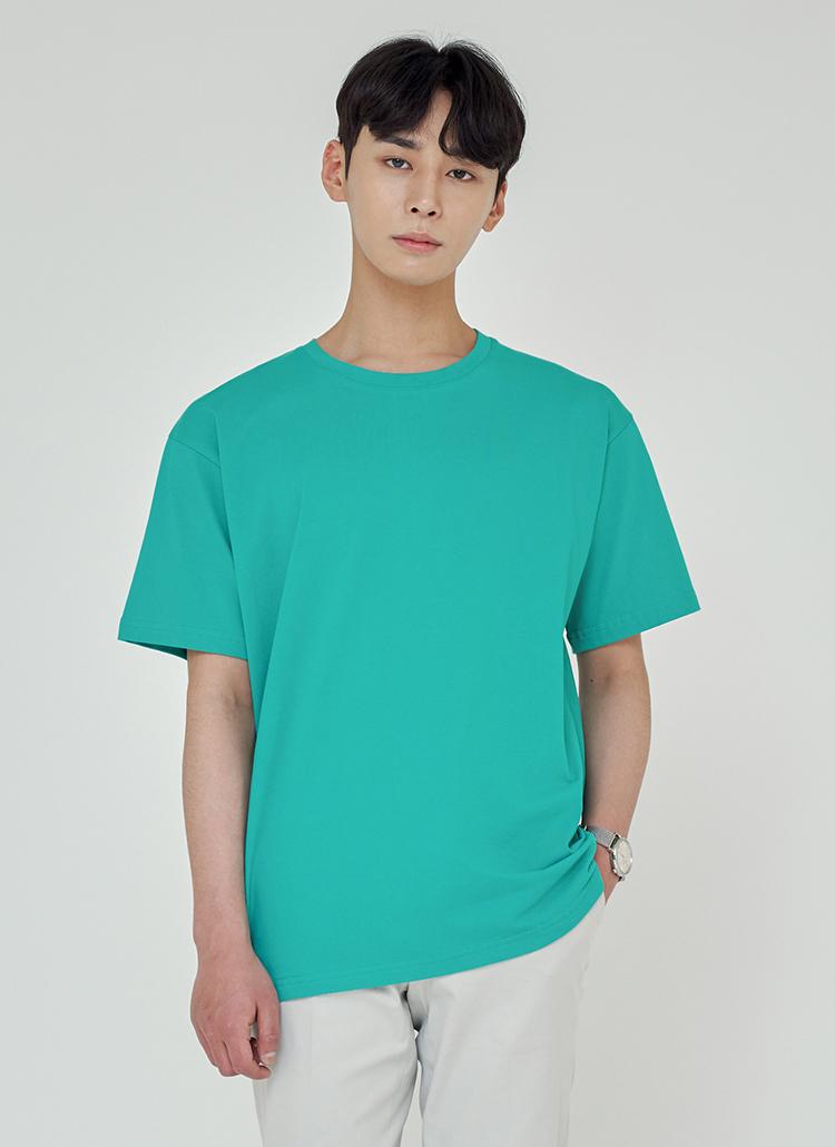 ルーズフィットシルケットTシャツ(ブルーグリーン)