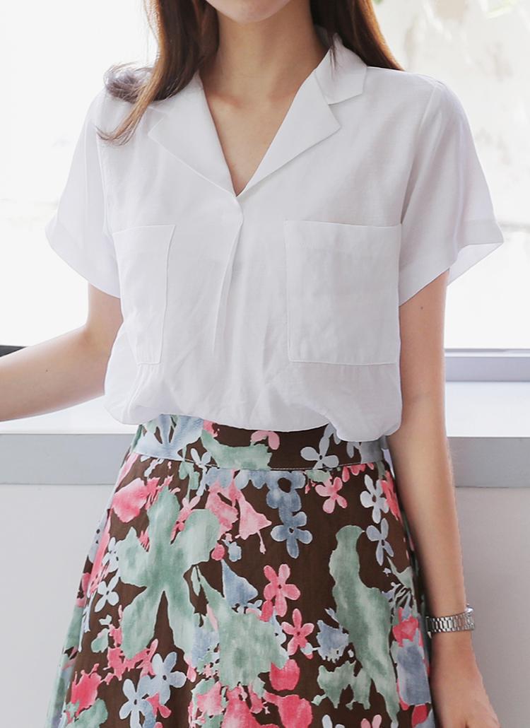 ダブルポケットオープンカラーシャツ・全3色