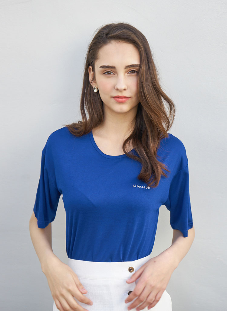 レーヨンボックスTシャツ(ブルー)