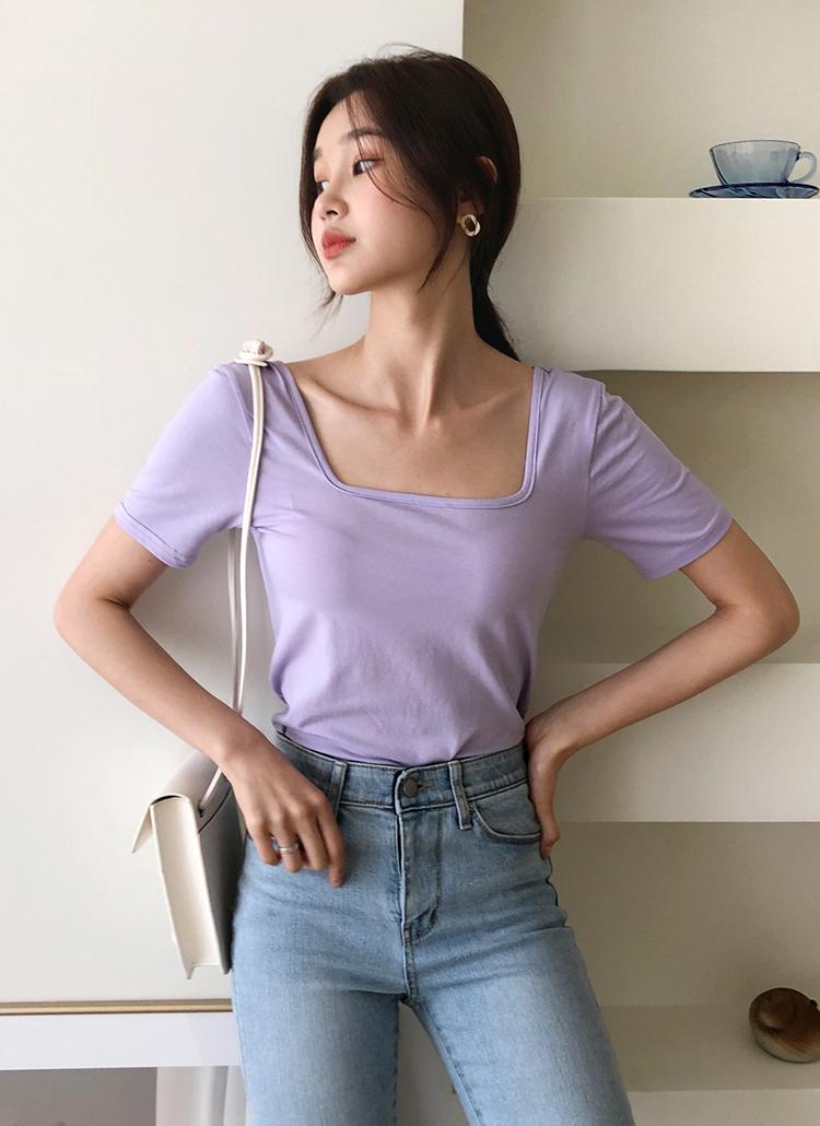スクエアネック半袖Tシャツ・全5色