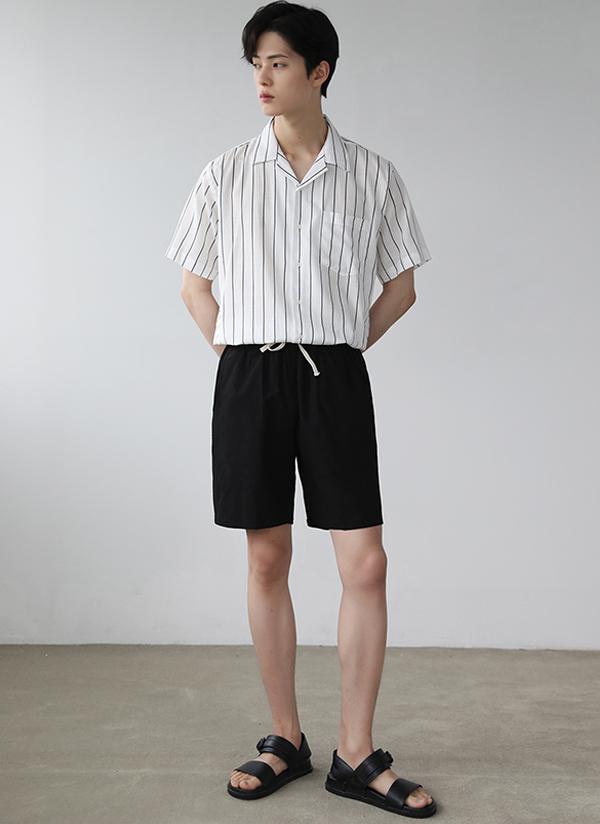 開襟ストライプハーフシャツ