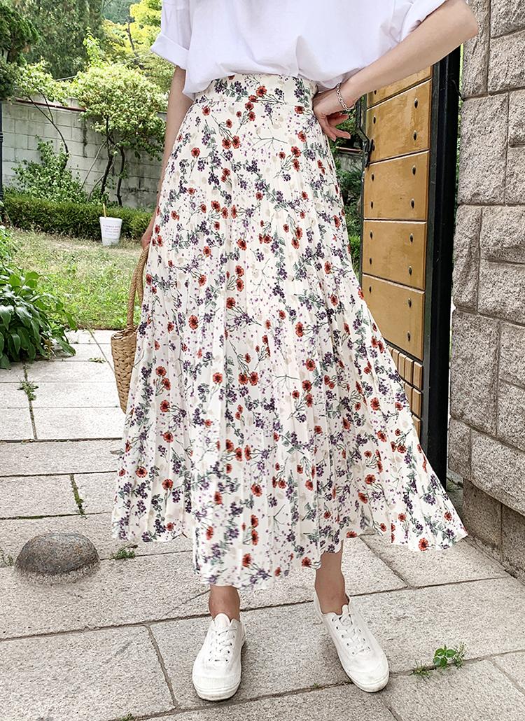 フラワープリーツスカート・全2色