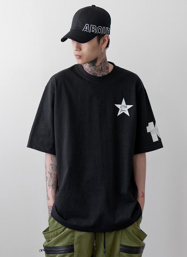 スタープリント半袖Tシャツ