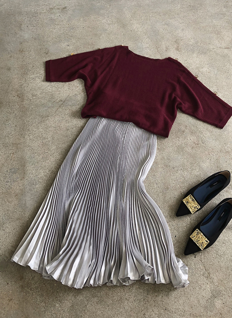 サテンプリーツスカート・全4色
