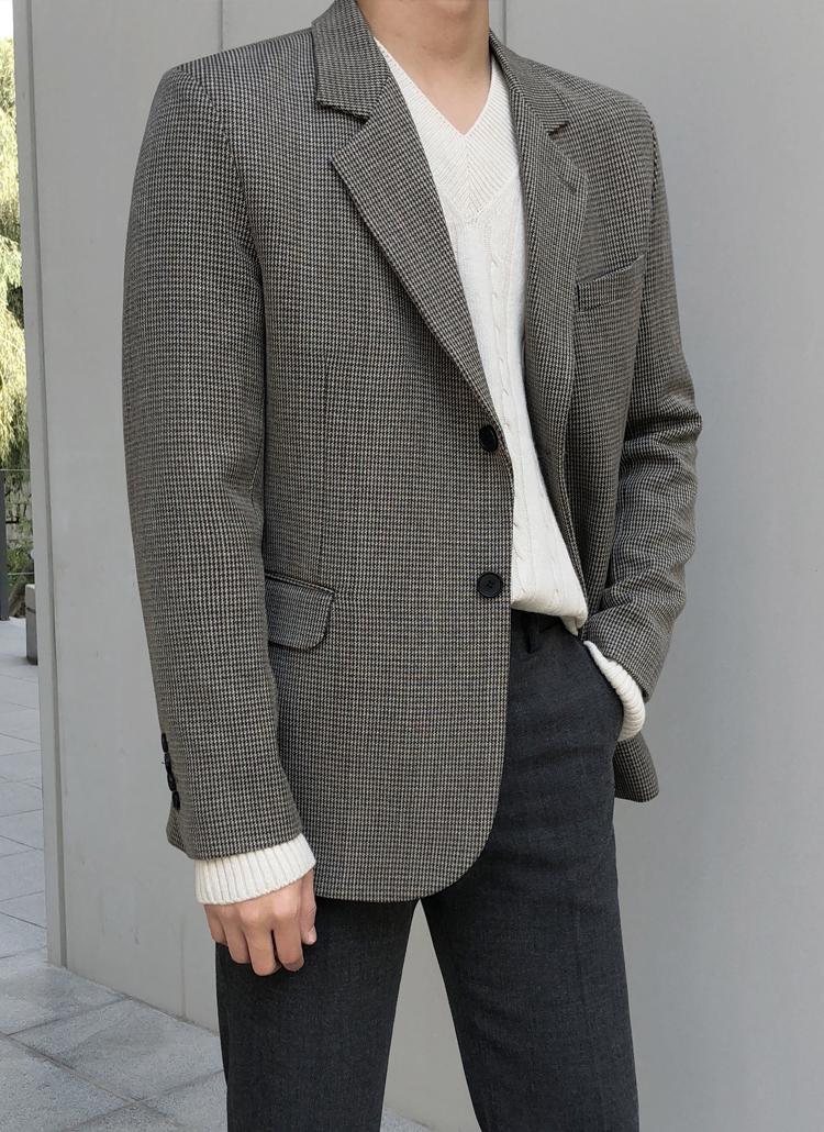 ウールミックスチェックジャケット
