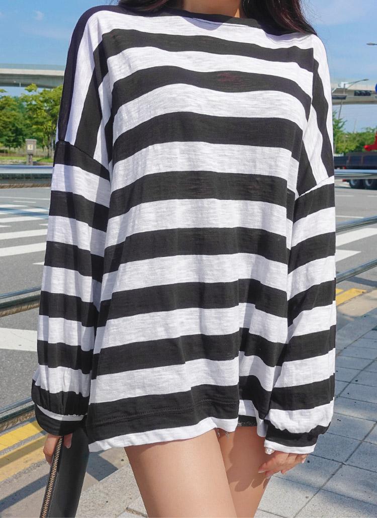ボクシーフィットボーダーTシャツ