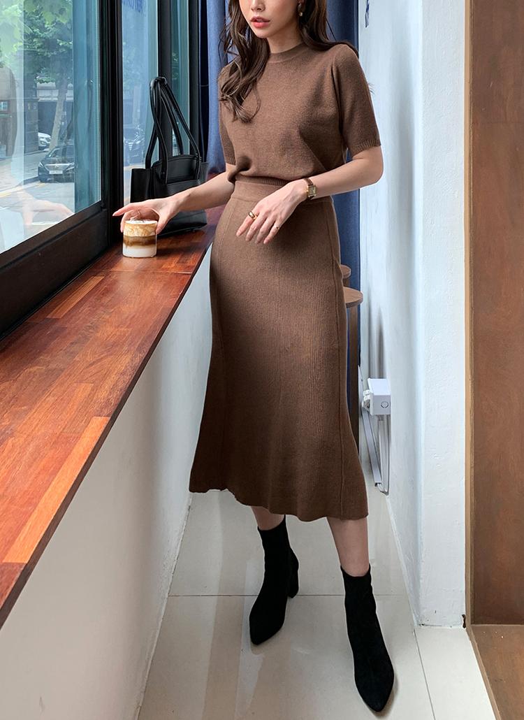 ショートスリーブニット&マーメイドスカートSET・全4色