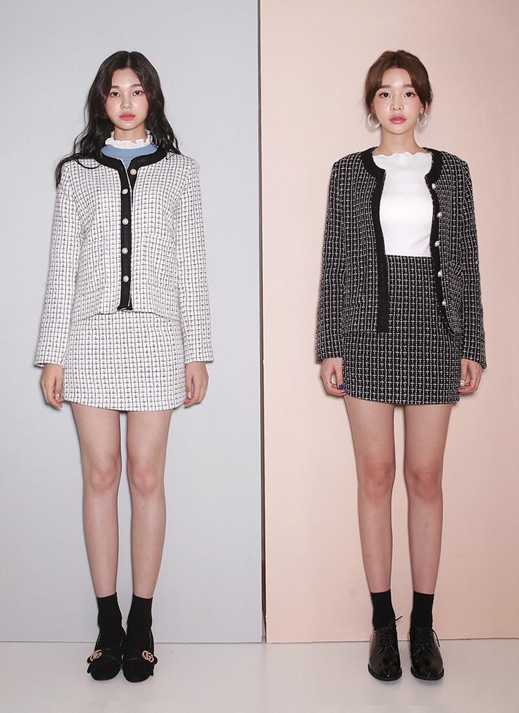 パールボタンツイードジャケット&スカートSET・全2色