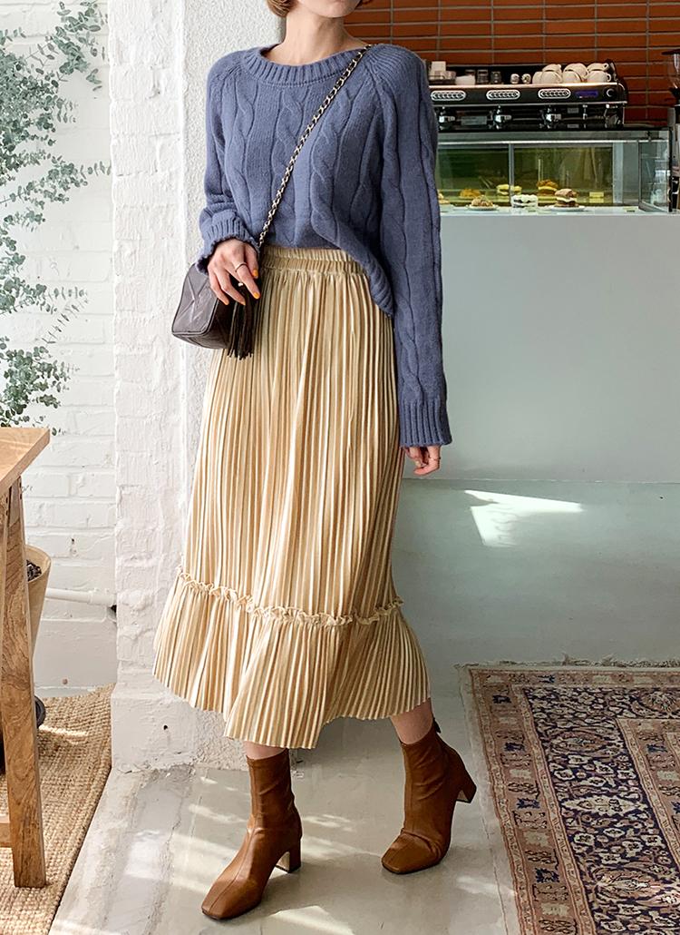 ベロアプリーツスカート・全4色