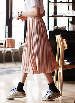 ウエストゴムロングプリーツスカート・全5色