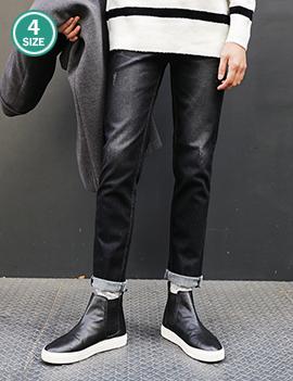 裏起毛スマートブラックダメージジーンズ・全1色