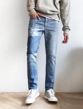 ウォッシュドカラーブロックジーンズ・全1色