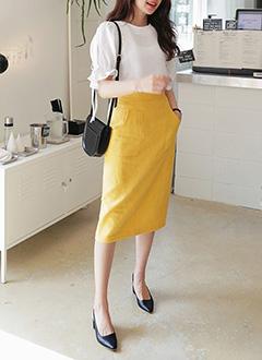 リネンブレンドポケットミモレスカート・全2色