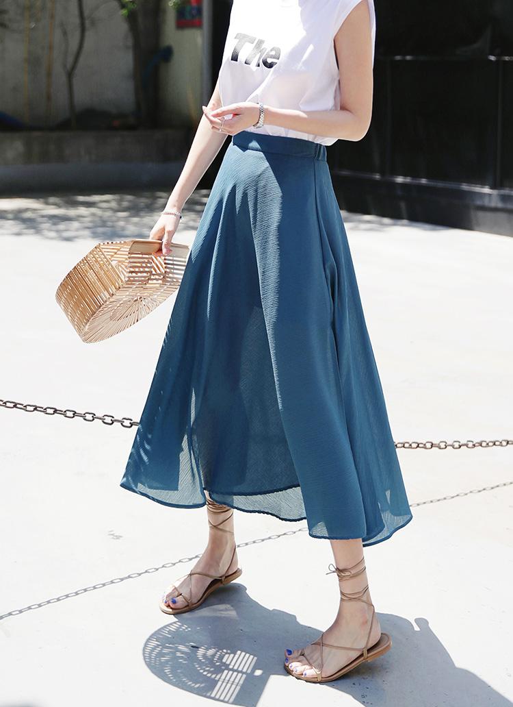 バックゴムフレアロングスカート・全3色