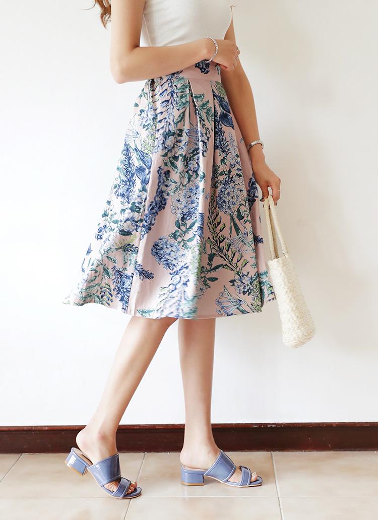 フローラルフレアミディスカート・全3色