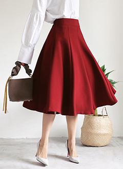 バックゴムフレアミディ丈スカート・全3色