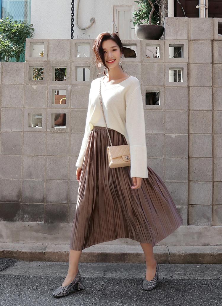 グロッシープリーツロングスカート・全4色