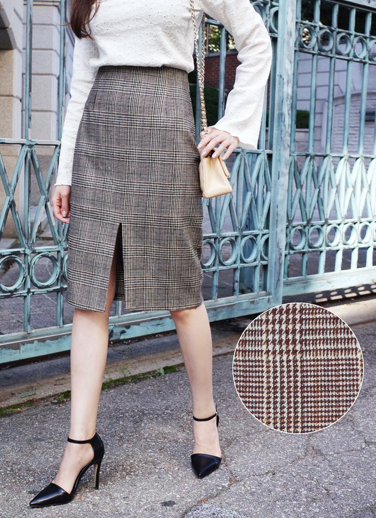 グレンチェックスリットタイトミディスカート・全2色