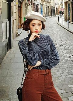 ♥Love in PARIS♥ハイネックプリーツベロアブラウス・全3色