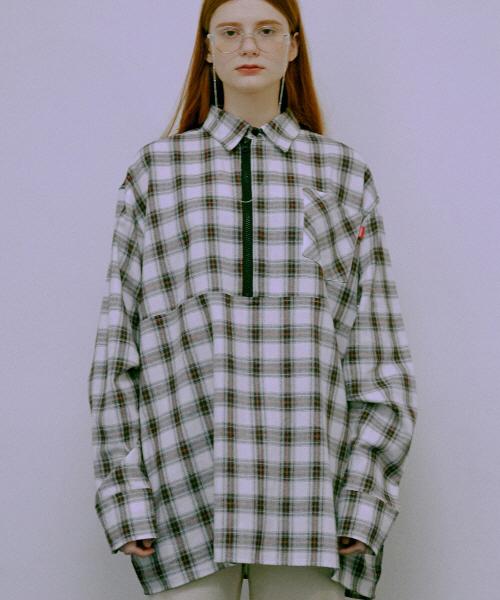 *Default*オーバーサイズチェックシャツハーフジップアップ(ブラック)